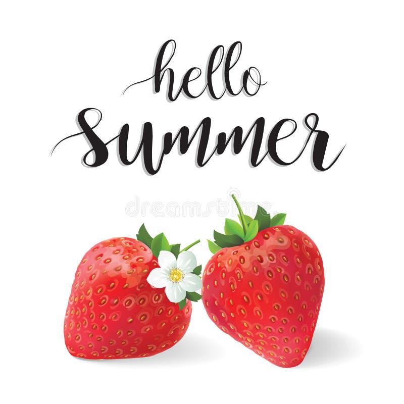 Hallo Sommervektor-Illustrationserdbeeren stockbilder