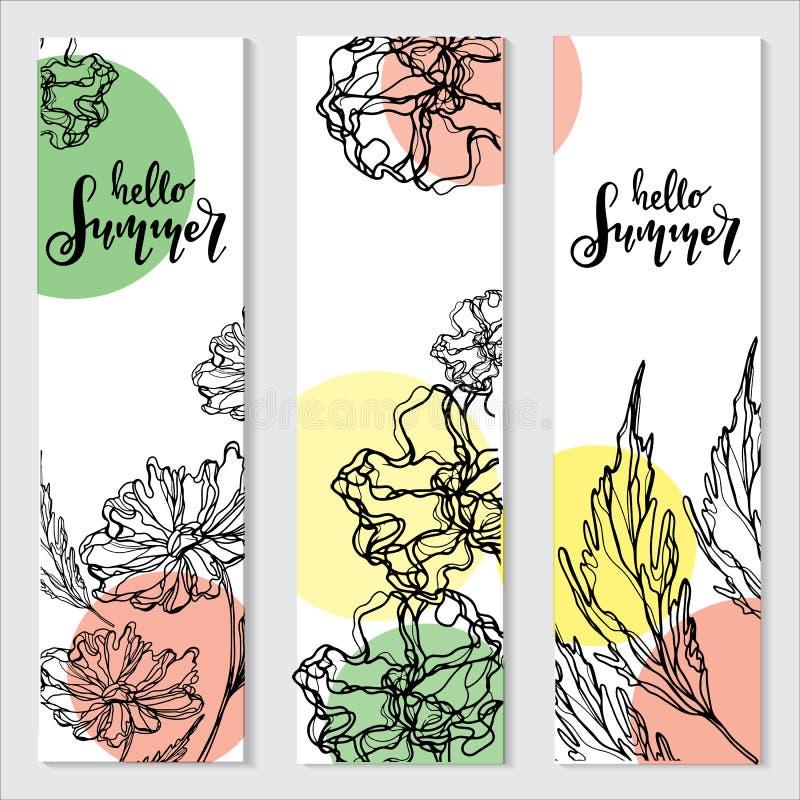 Hallo Sommervektorillustration, Hintergrund Spaßzitathippie-Designlogo oder -aufkleber vektor abbildung