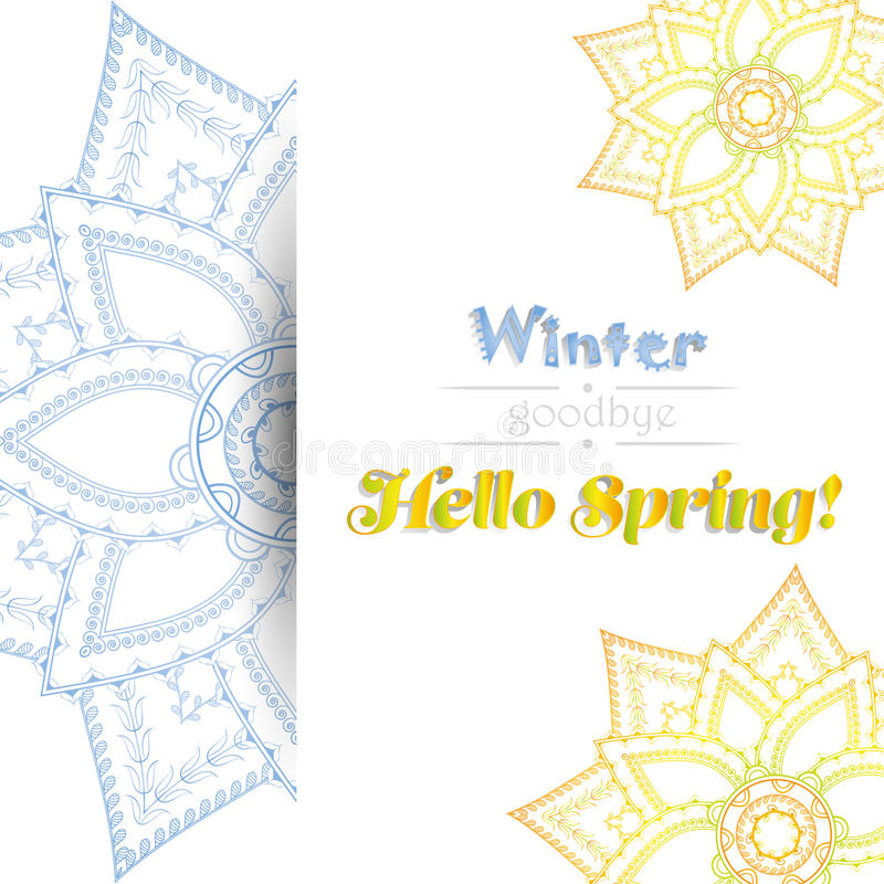 Hallo spring card with round ornament. vector illustration