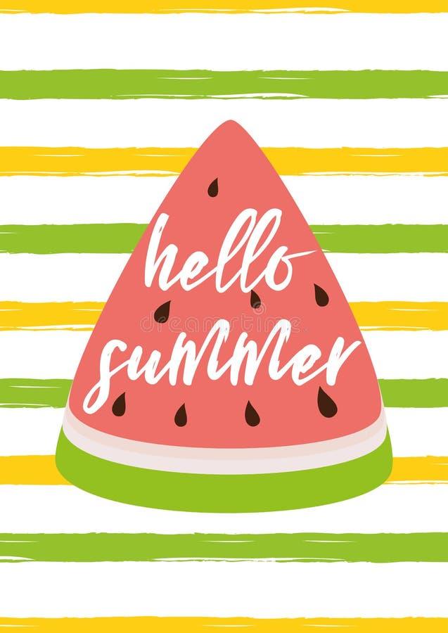 Hallo streifte Sommertext auf dem Wassermelonengrüngelb Sommerkarten-Vektorillustration des Hintergrundes helle stock abbildung