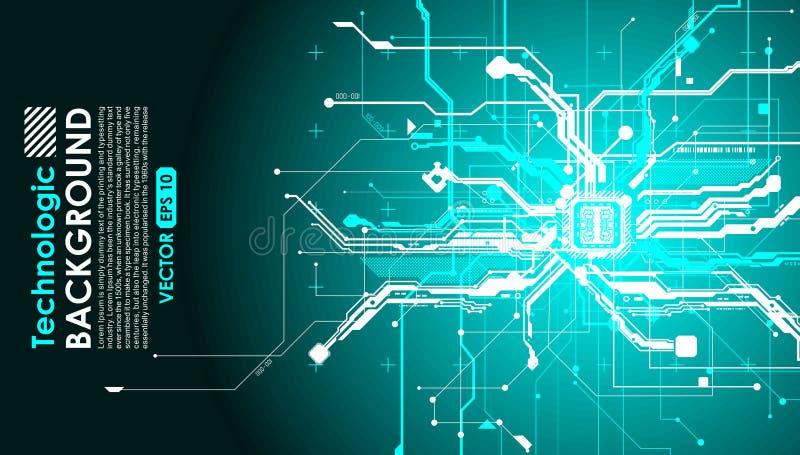 Hallo technologie-van kringen fantastisch absract cyberpunk cyber loon als achtergrond stock illustratie
