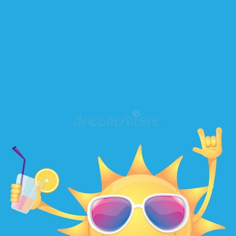 Hallo Vektoraufkleber oder -logo des Sommerrocks n Rollen SommerCocktailparty-Plakathintergrund mit flippigem lächelndem Sonnench vektor abbildung