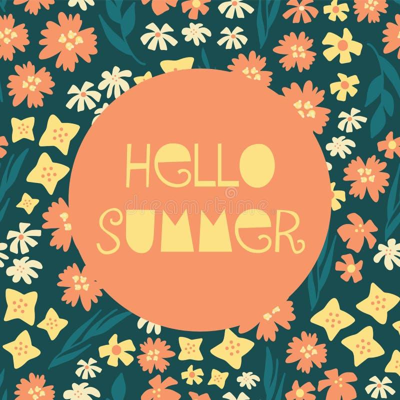 Hallo veranschaulichte Sommer weibliche Vektorfahnen-Collagenart mit Text, die beige blaue gelb-orangee Knickente der bunten vers vektor abbildung