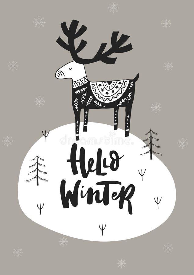 Hallo Winter - übergeben Sie gezogene Weihnachtskarte in der skandinavischen Art mit einfarbigen Rotwild und Beschriftung vektor abbildung