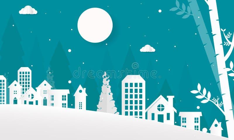 Hallo Winter mit Hügel-Bergen mit Baum-Wolken und Mond-Vektor-flacher Illustration, frohen Weihnachten und guten Rutsch ins Neue  stock abbildung