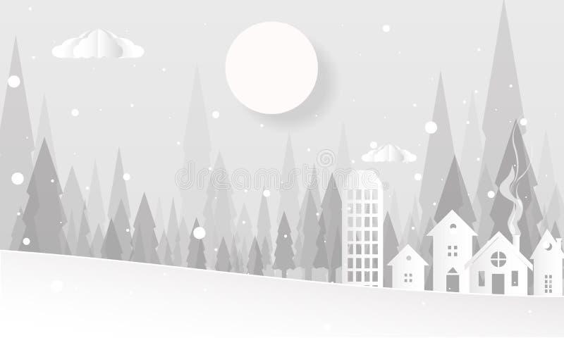 Hallo Winter mit Hügel-Bergen mit Baum-Wolken und Mond-Vektor-flacher Illustration, frohen Weihnachten und guten Rutsch ins Neue  lizenzfreie abbildung