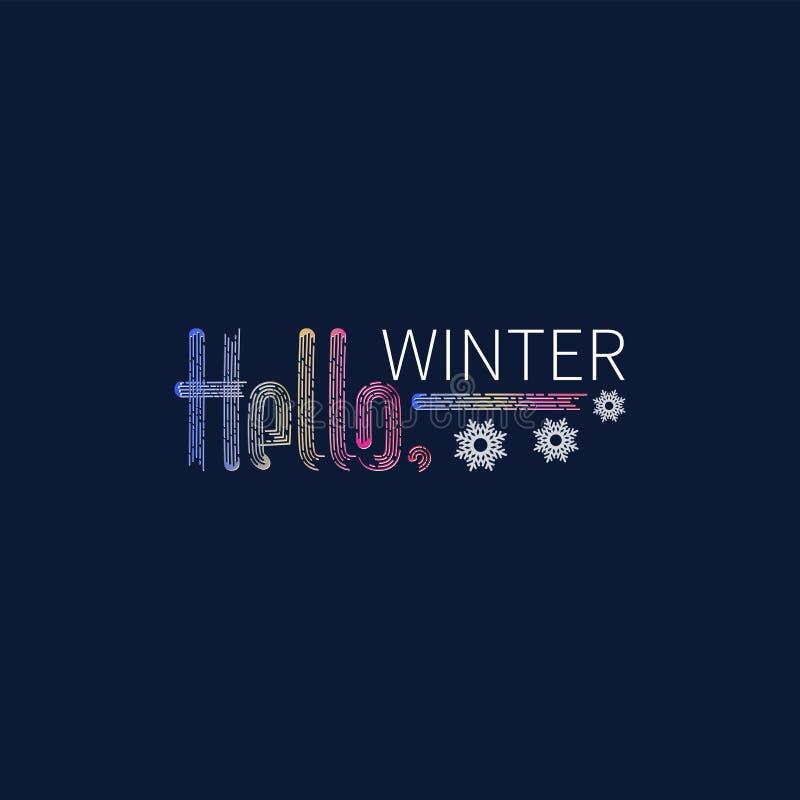 Hallo Winter Schneeflocken Helle Aufschrift stock abbildung