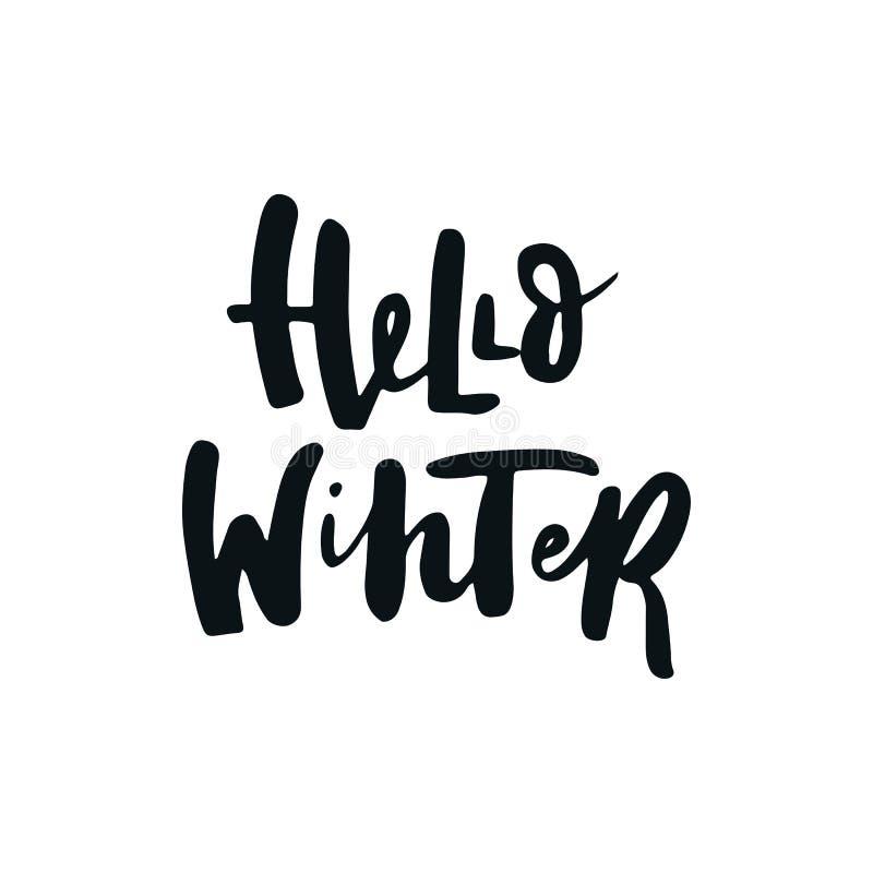 Hallo Winter - Weihnachts- und des neuen Jahresphrase lizenzfreie abbildung