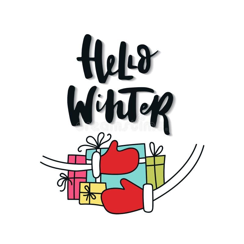 Hallo Winter - Weihnachts- und des neuen Jahresphrase mit Arm voll Geschenkboxen lizenzfreie abbildung