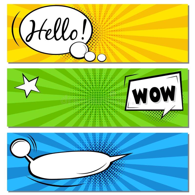 Hallo! WOW! Komische Spracheblasen Pop-Arten-Vektor-Aufkleberillustration Weinlesecomics buchen Plakat auf gr?nem Hintergrund lizenzfreies stockfoto