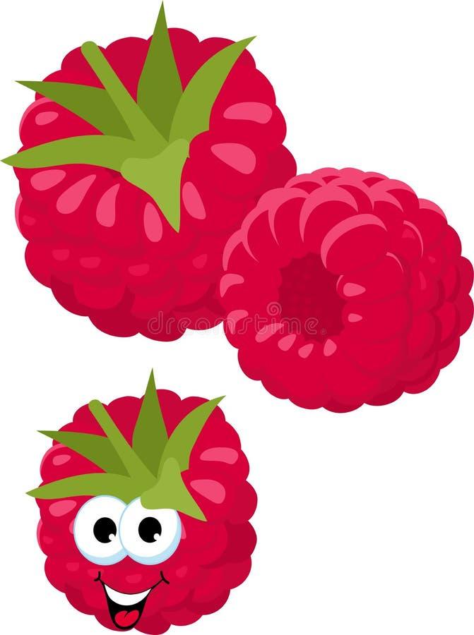 hallon Nya hallonbär som isoleras på vit bakgrund roligt tecknad filmtecken också vektor för coreldrawillustration vektor illustrationer
