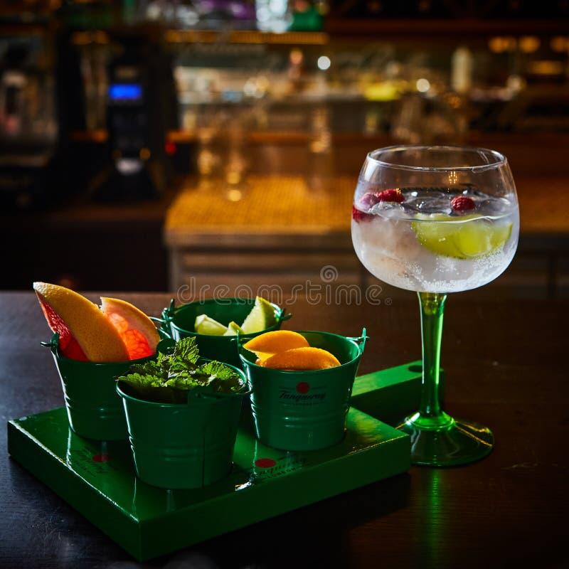 HallonMojito lemonad med limefrukt och den nya mintkaramellen i exponeringsglas på träbakgrund arkivfoton