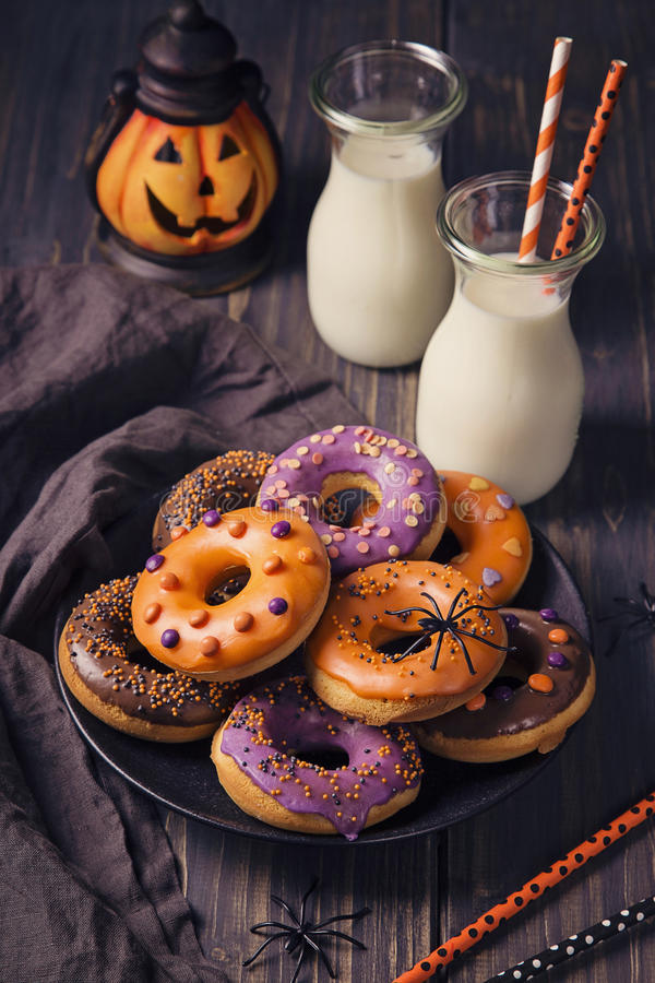 Halloweeen donuts royalty free stock photography
