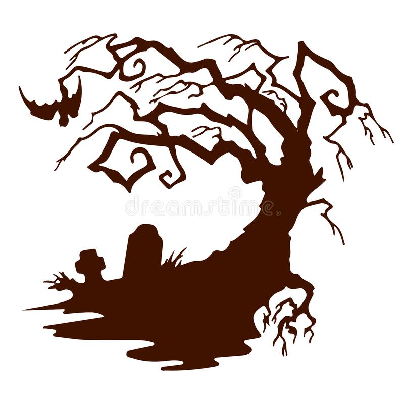 Halloween, árbol asustadizo de la silueta sin las hojas libre illustration