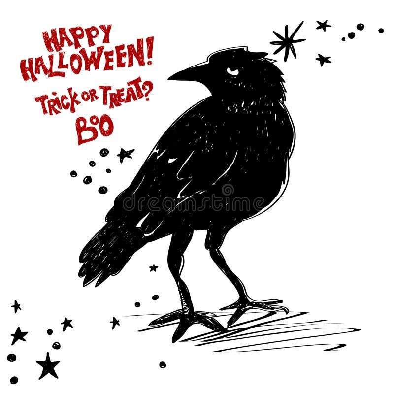 Halloween è concetto venente Il corvo nero vuole un Halloween felice Vettore delle azione di disegno di tipografia illustrazione vettoriale