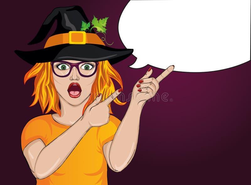 Halloween Überraschtes Mädchen in den Gläsern und im Huthexenkostüm wow stock abbildung