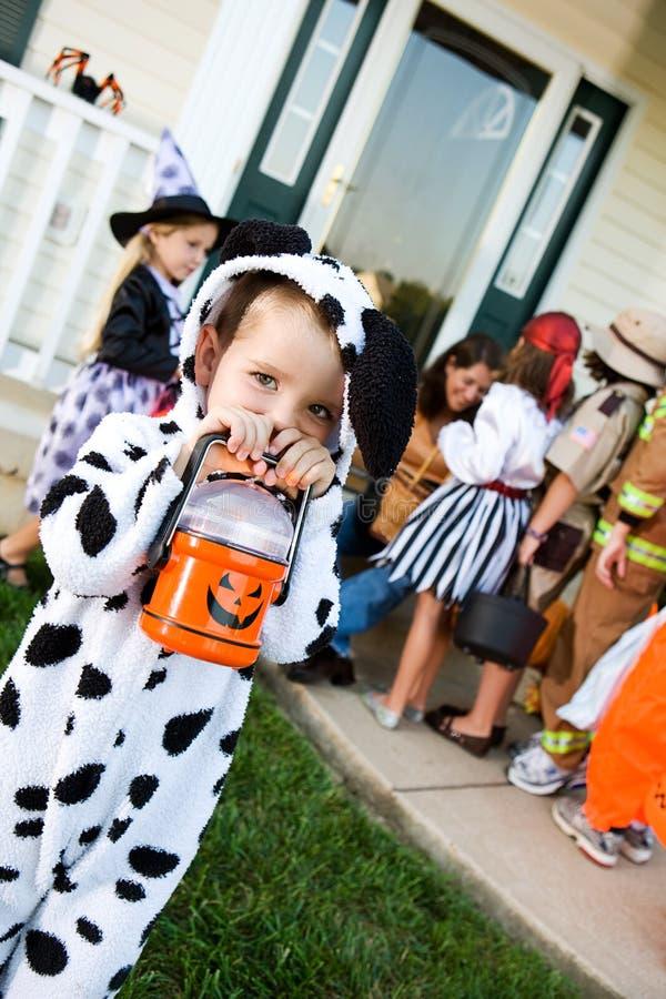 Halloween: Śliczna sztuczka lub Treater z latarką zdjęcie royalty free