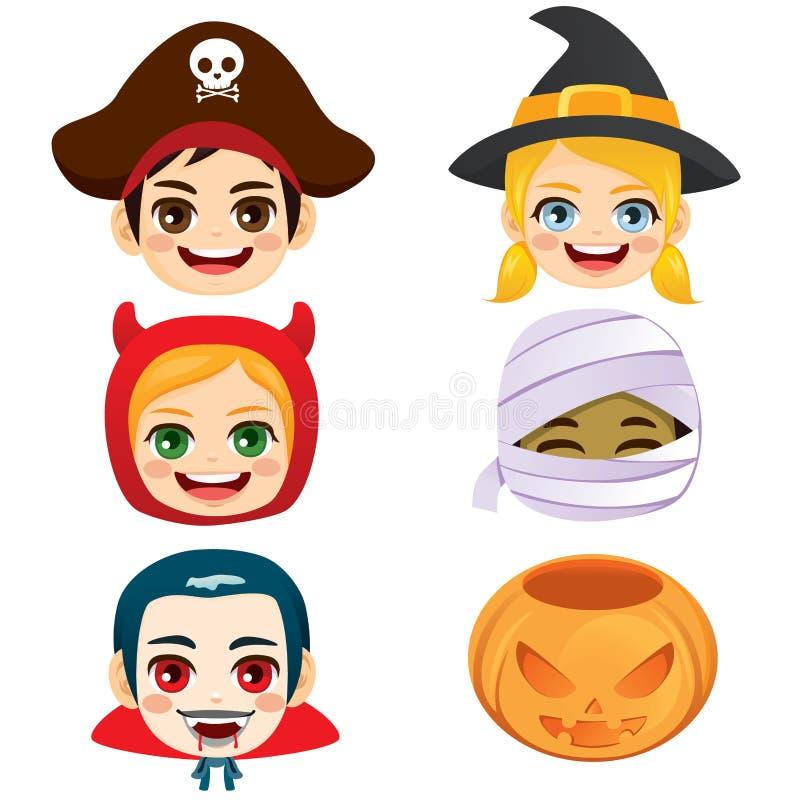 Halloween Żartuje twarz Ustawiającą kolekcję ilustracji