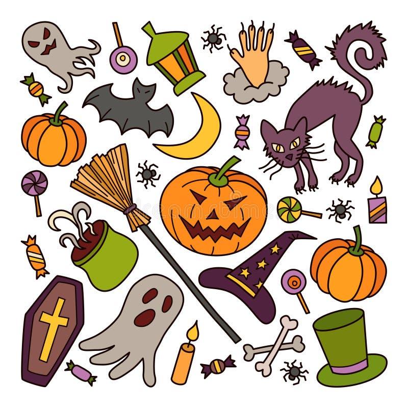 halloween Комплект элементов в стиле doodle и шаржа цветасто иллюстрация штока