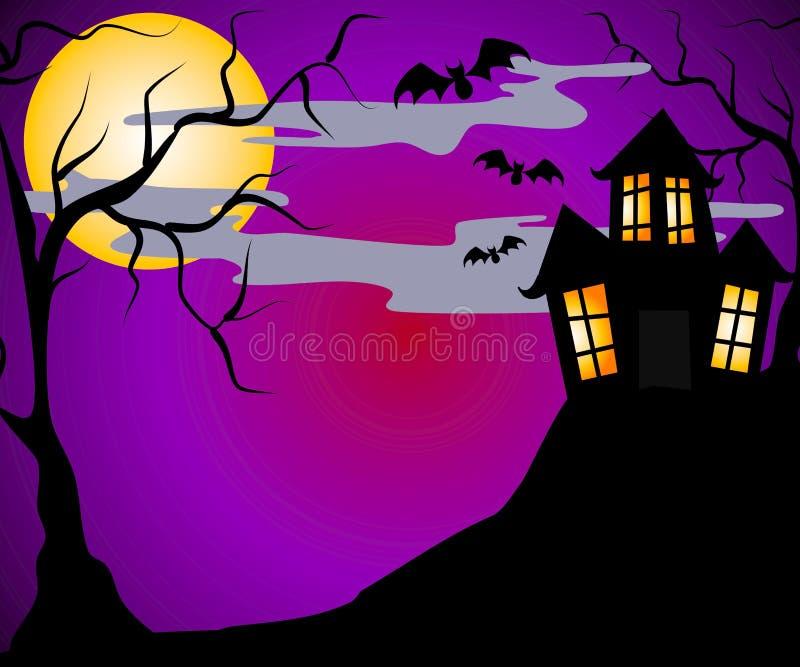 halloween преследовал дом бесплатная иллюстрация