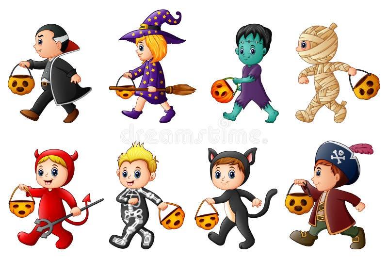 halloween счастливый Комплект милых детей шаржа в костюмах хеллоуина иллюстрация штока