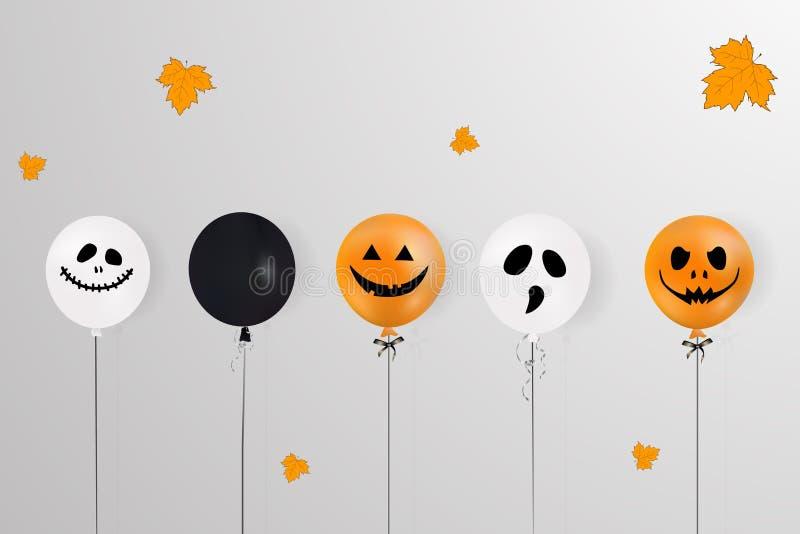 halloween счастливый Концепция праздника с хеллоуином раздувает, падая листья апельсина для знамени, плаката, поздравительной отк иллюстрация вектора