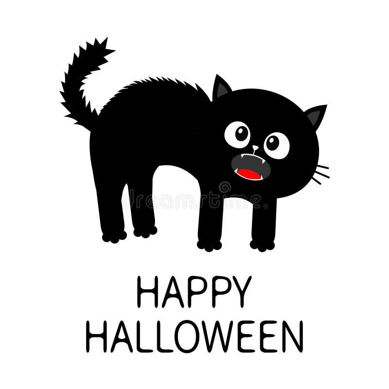 halloween счастливый котенок screaming Устрашенная задняя часть свода кота Мех волос стоит на конце Глаза, клыки, вискер усиков М иллюстрация штока