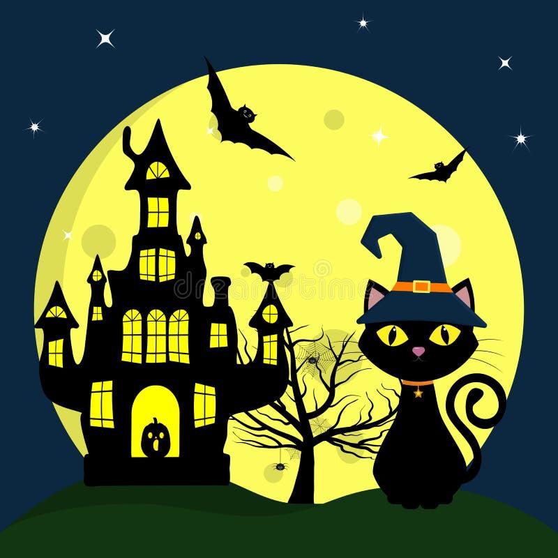 halloween счастливый Кот хеллоуина в шляпе ведьмы сидит на предпосылке полнолуния Дерево, тыква, летучие мыши, сети паука и паук иллюстрация вектора