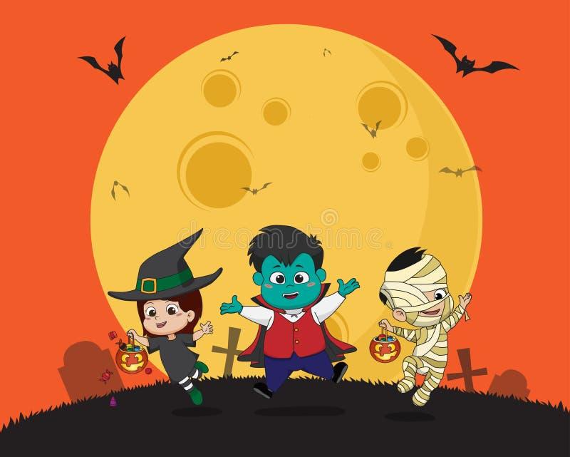 halloween счастливый Ребенк одевает партию хеллоуина и скакать в иллюстрация вектора