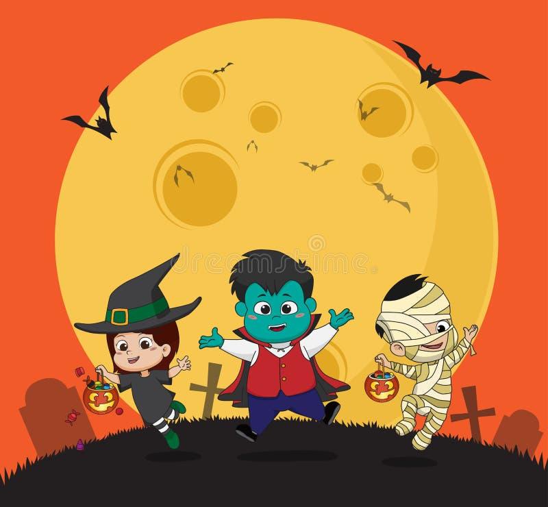 halloween счастливый Ребенк одевает партию хеллоуина и скакать в бесплатная иллюстрация