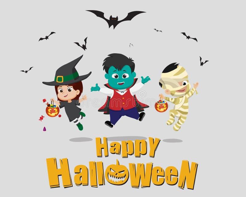 halloween счастливый Ребенк одевает партию хеллоуина и скакать в иллюстрация штока