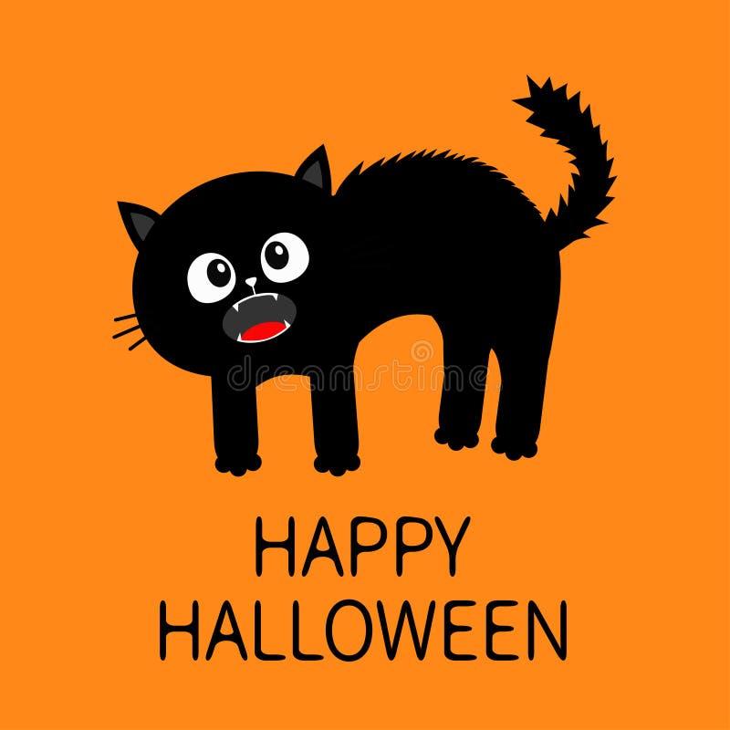 halloween счастливый Устрашенная задняя часть свода кота котенок screaming Мех волос стоит на конце Глаза, клыки, вискер усиков М иллюстрация штока