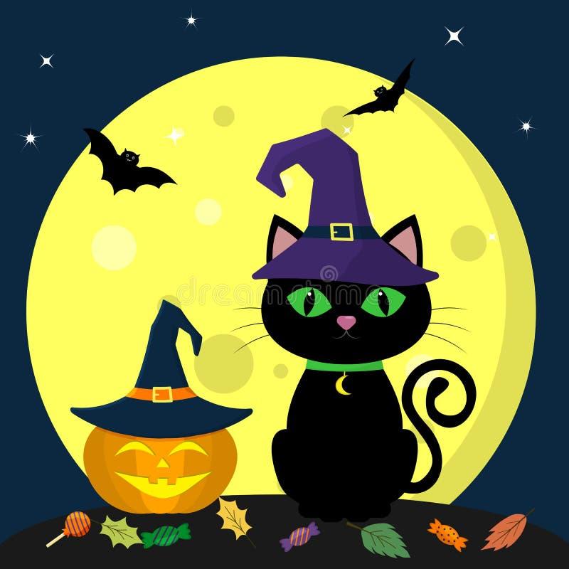 halloween счастливый Черный кот хеллоуина в шляпе ведьмы сидит против полнолуния на ноче Рядом с тыквой в шляпе иллюстрация вектора