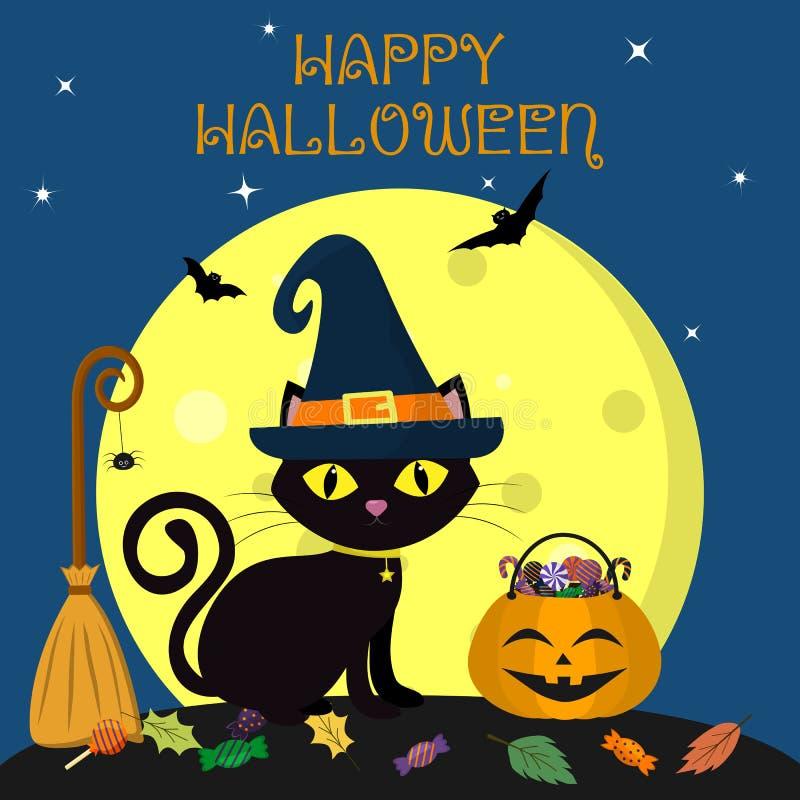 halloween счастливый Черный кот хеллоуина сидит против полнолуния на ноче Около веника с пауком, тыква иллюстрация вектора