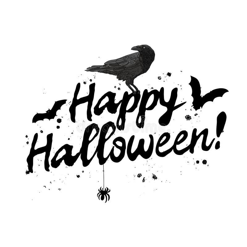 halloween счастливый Каллиграфия тенденции иллюстрация штока