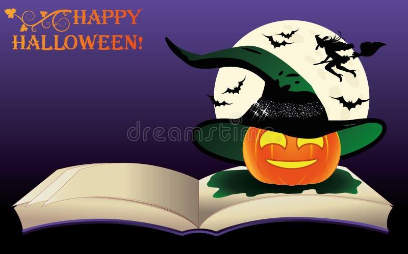 halloween счастливый Книга и луна ведьмы старая иллюстрация вектора
