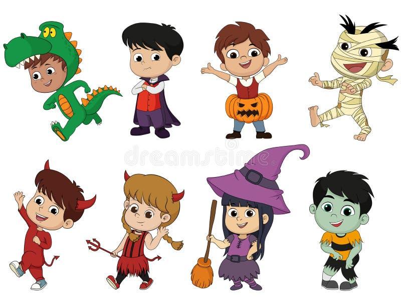 halloween счастливый Комплект милых детей шаржа в красочном освящает иллюстрация штока