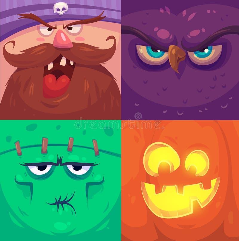 halloween счастливый Комплект характеров хеллоуина иллюстрация вектора