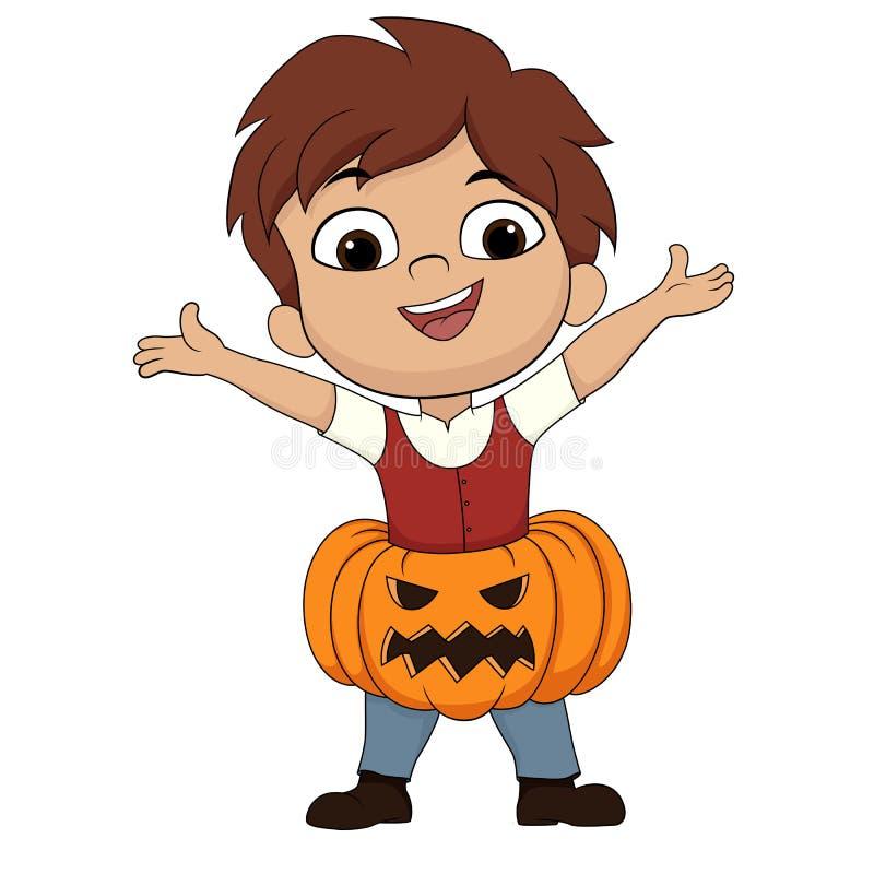 halloween счастливый Милый ребенк положил вверх тыкву в тело в хеллоуине бесплатная иллюстрация