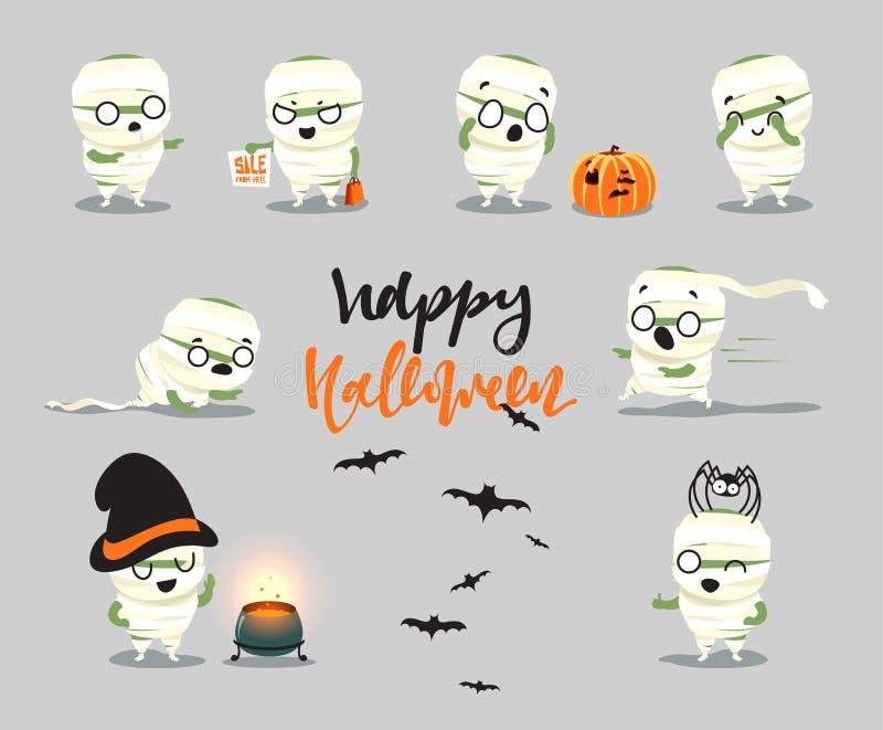 halloween счастливый Установленные милые костюмы персонажа из мультфильма, зомби, мумия иллюстрация вектора