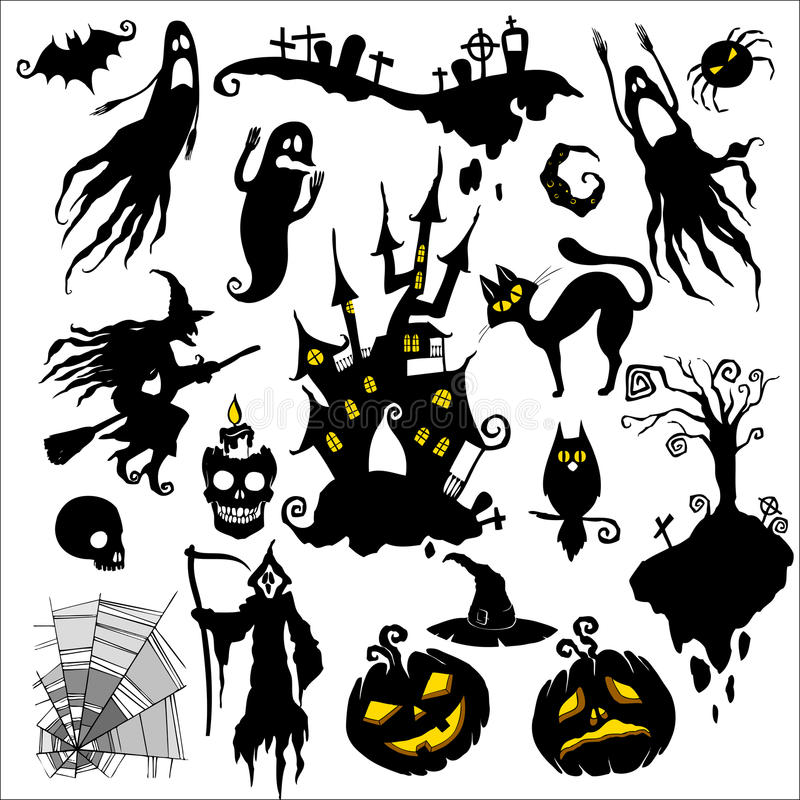 Halloween. Set of illustrations. halloween scary theme
