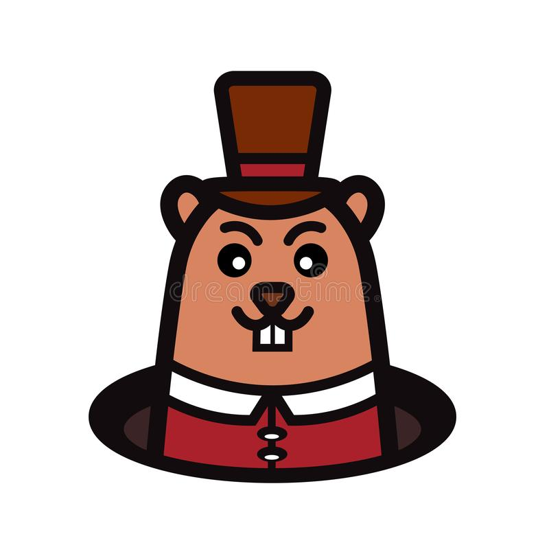 Marmot with hat from hole in ground. Groundhog Day. Vector illustration stock illustration