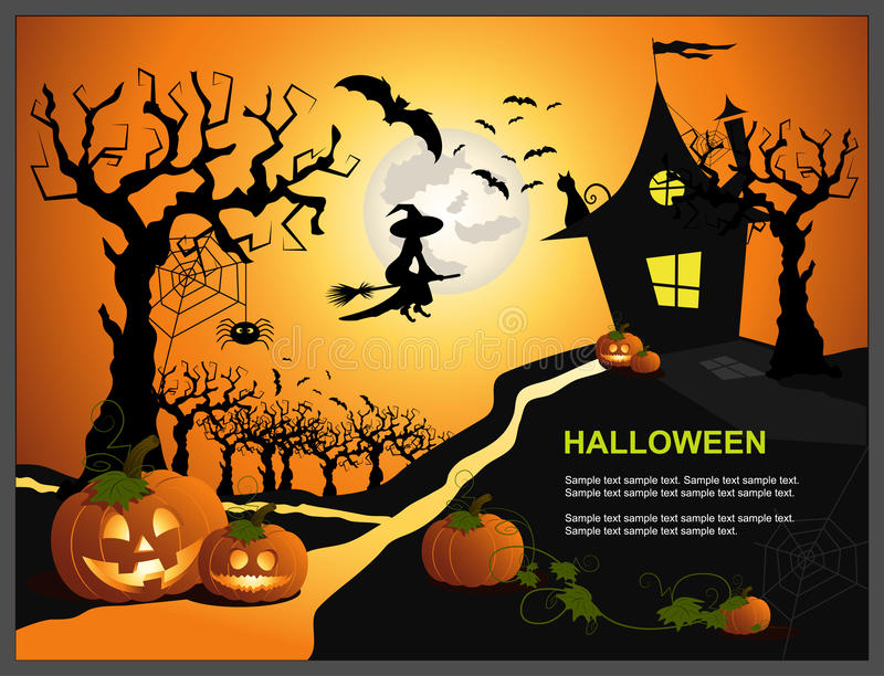 Halloween. Illustration, template card for a Halloween