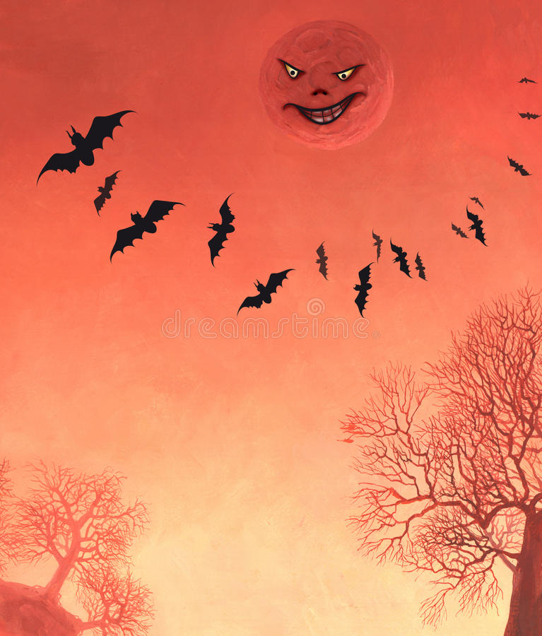 Halloween. Moon with a face on the red sky stock illustration