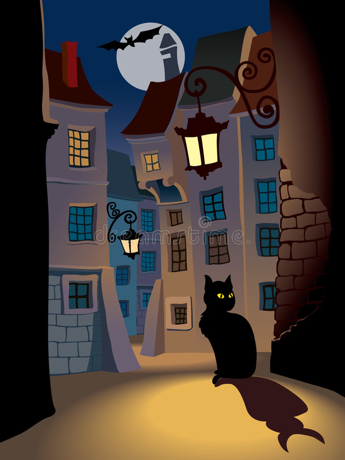 Halloween. Demonic cat on a street, perfect illustration for Halloween holiday