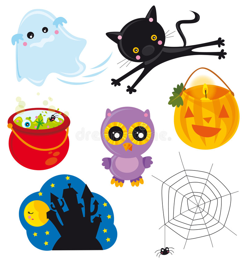 Halloween. Illustration of halloween's elements isolated on white background