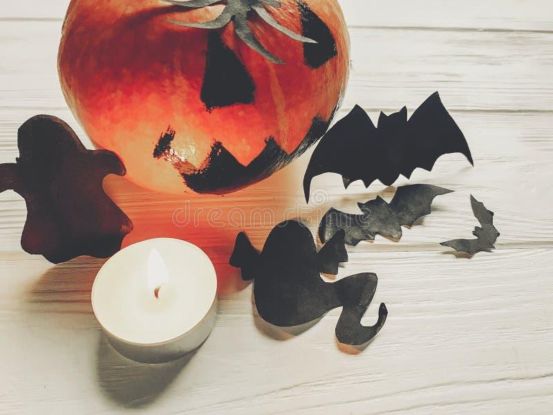 Halloween abóbora assustador da lanterna do jaque com bastões e spide do fantasma foto de stock royalty free