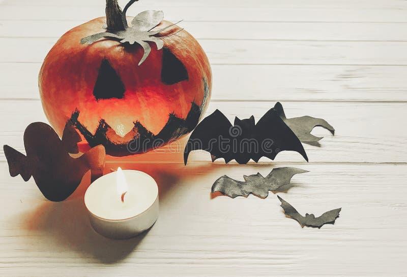 Halloween abóbora assustador da lanterna do jaque com bastões e spide do fantasma fotos de stock royalty free