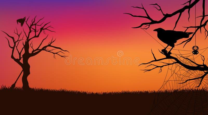Halloween-Abendvektorhintergrund mit Rabenvogel lizenzfreie abbildung