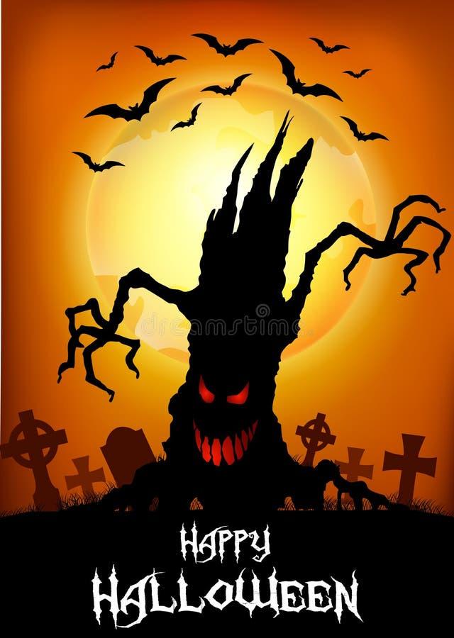 Halloween-achtergrond met eng boomsilhouet stock illustratie